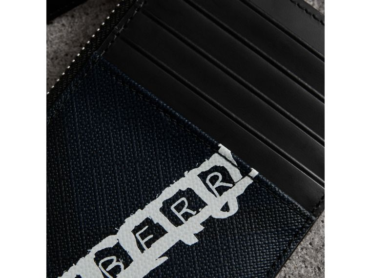 Logo Print London Check Zip Card Case in Charcoal | Burberry - cell image 1