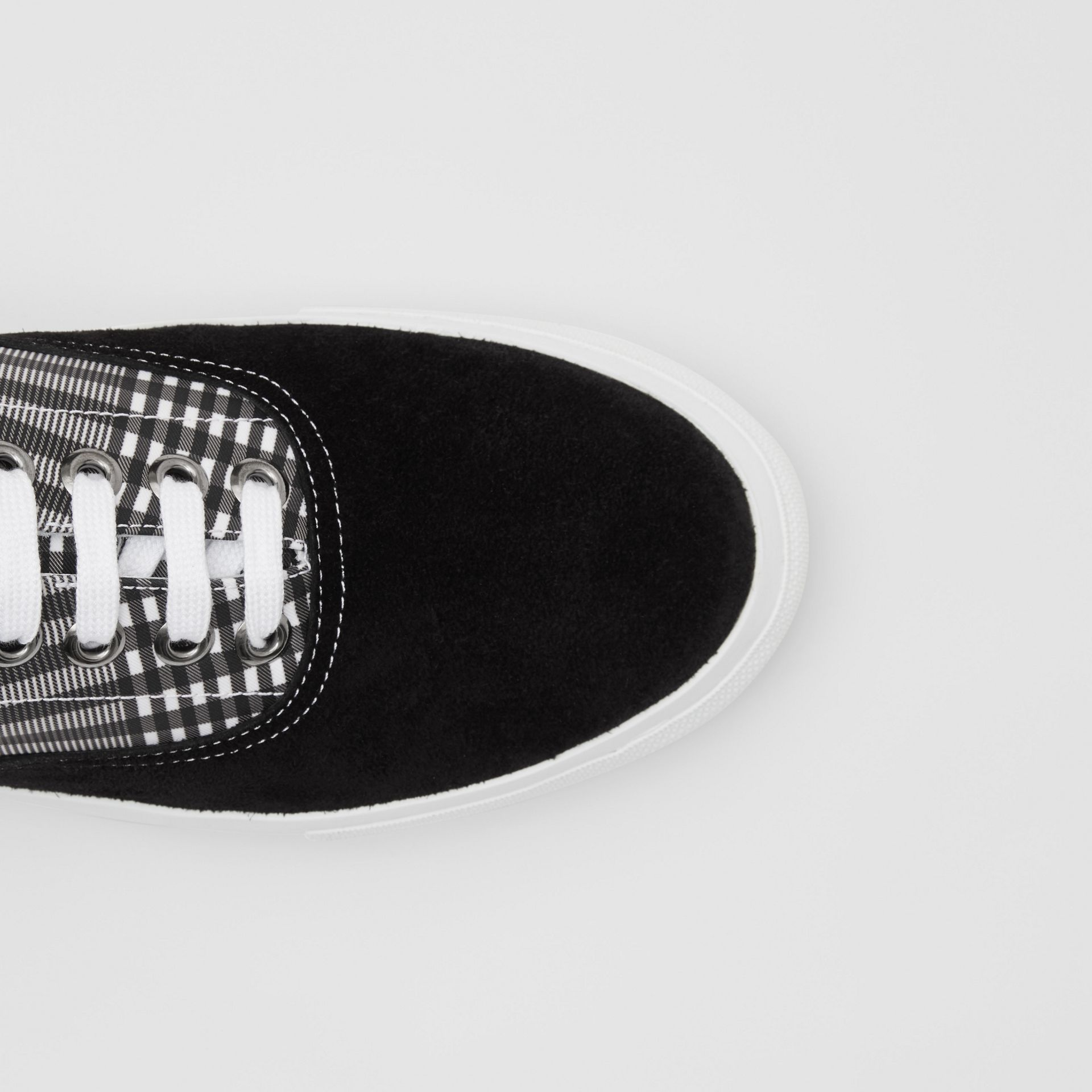 Check and Suede Sneakers in Grey/black - Men | Burberry - gallery image 1