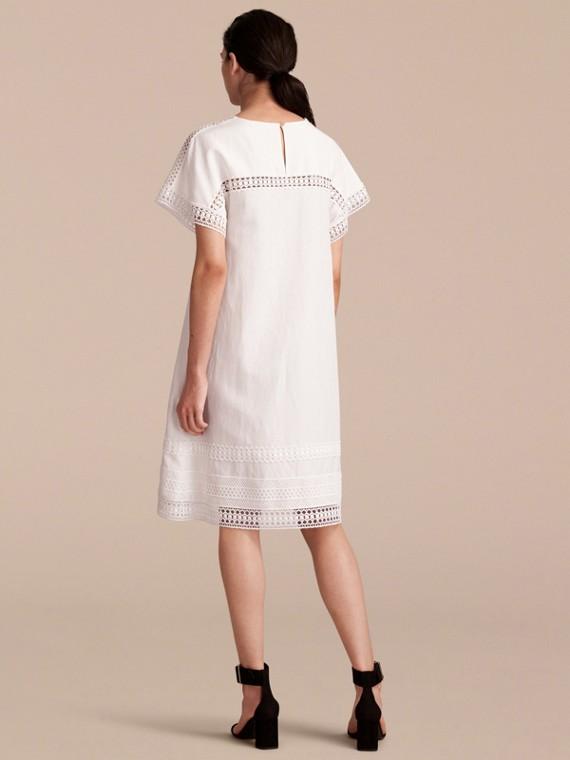 Macramé Lace Detail Silk Linen Cotton Dress - cell image 2