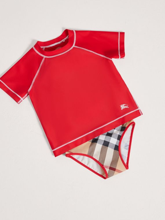 Haut Rash Guard à coutures contrastantes (Rouge Coquelicot) - Fille | Burberry Canada - cell image 2