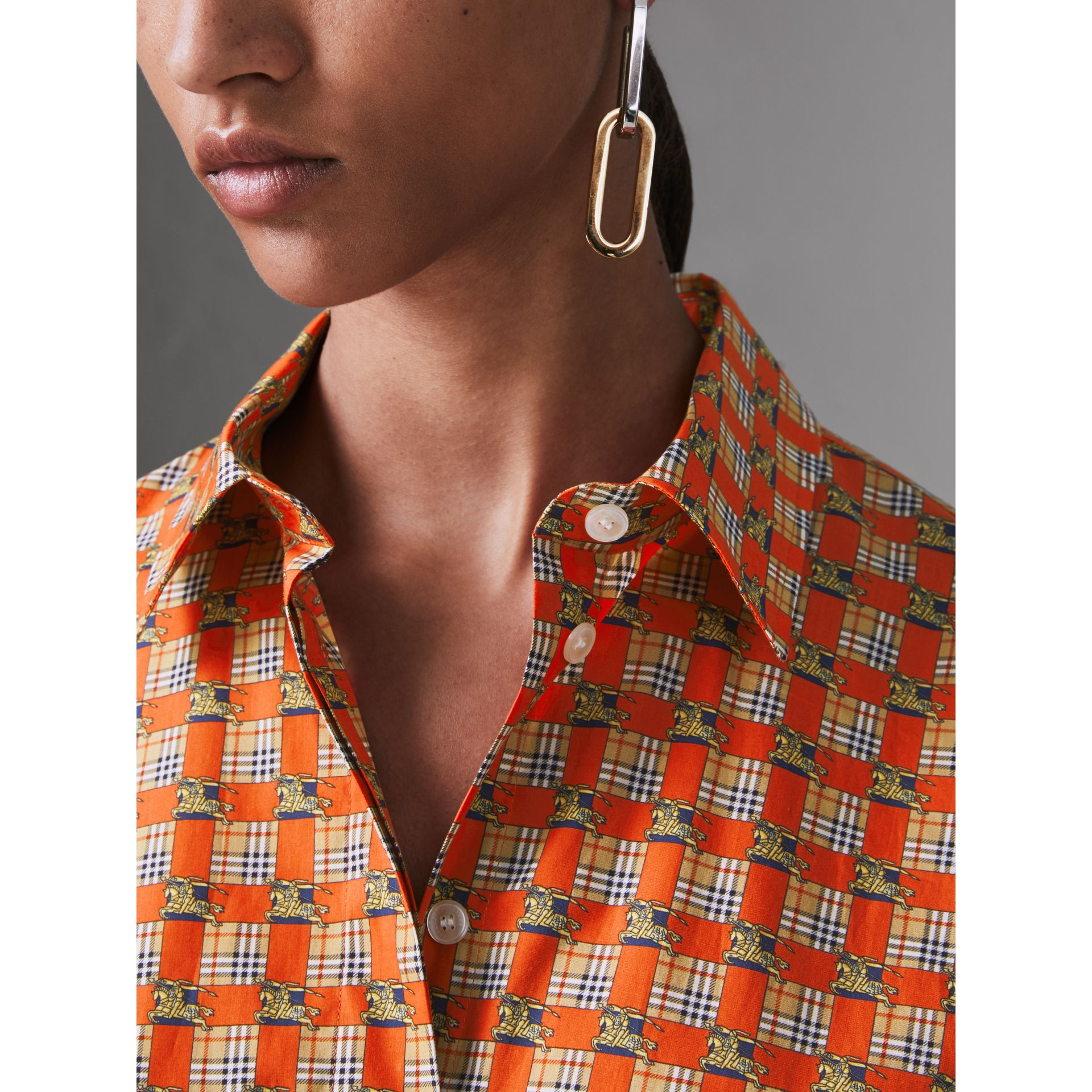 Tiled Archive Print Cotton Shirt in Bright Red - Women | Burberry - gallery image 4