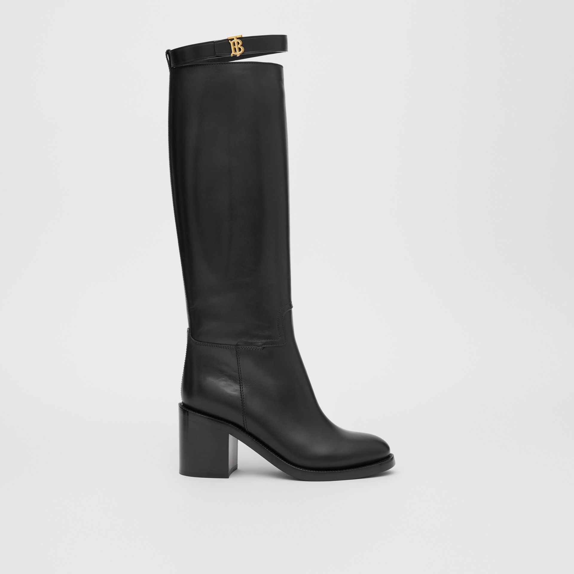 Monogram Motif Leather Knee-high Boots in Black - Women | Burberry United Kingdom - gallery image 4
