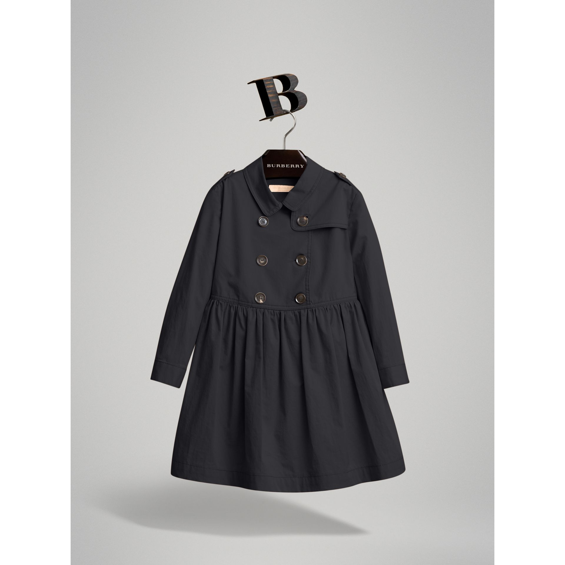 Check Detail Stretch Cotton Trench Dress in Midnight Blue | Burberry - gallery image 3