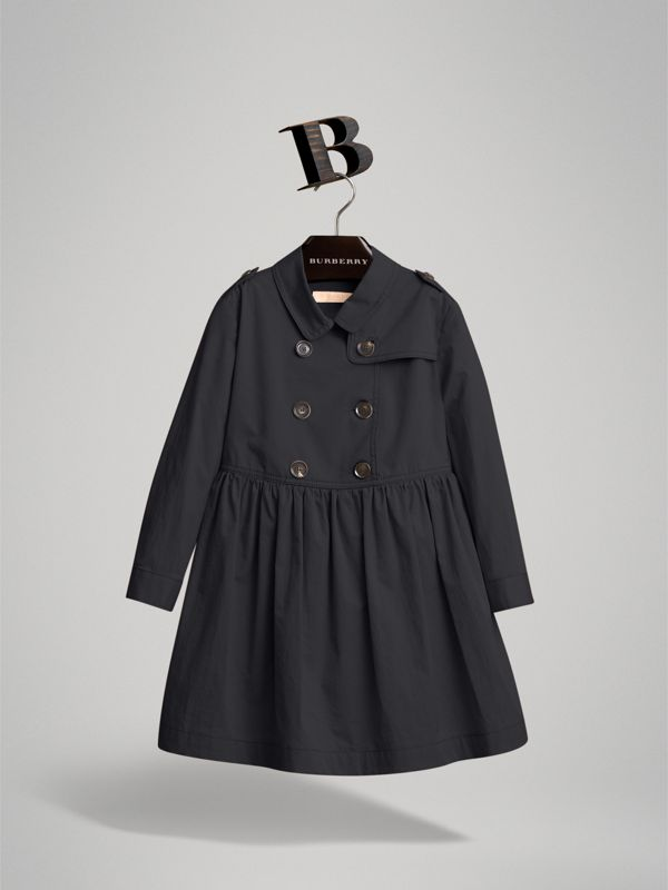 Check Detail Stretch Cotton Trench Dress in Midnight Blue | Burberry - cell image 3