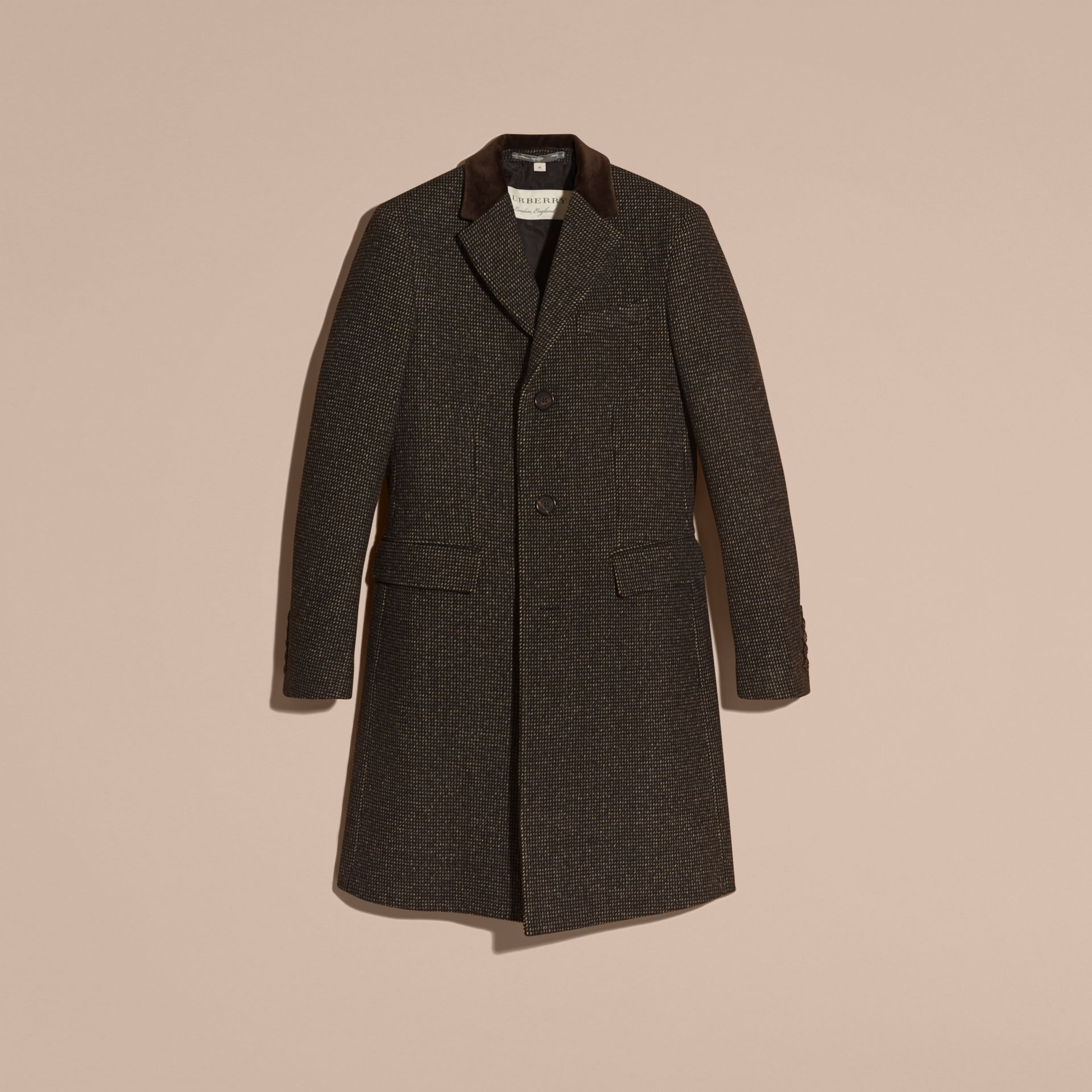 Mid camel Velvet Collar Tailored Wool Blend Coat - gallery image 4