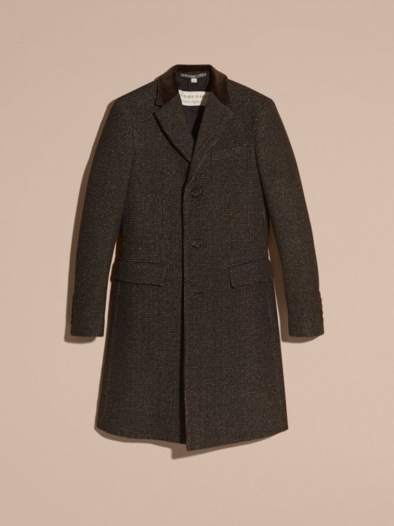 Mid camel Velvet Collar Tailored Wool Blend Coat - cell image 3
