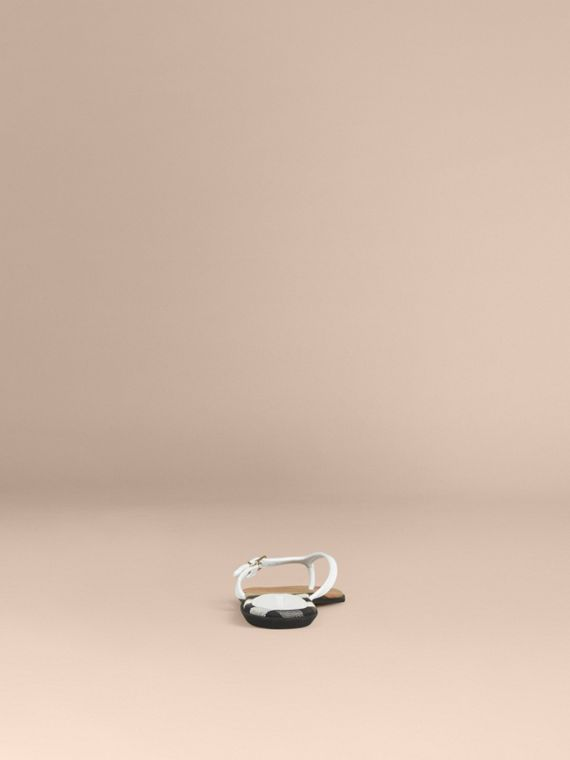 House Check and Leather Sandals - Women | Burberry - cell image 3