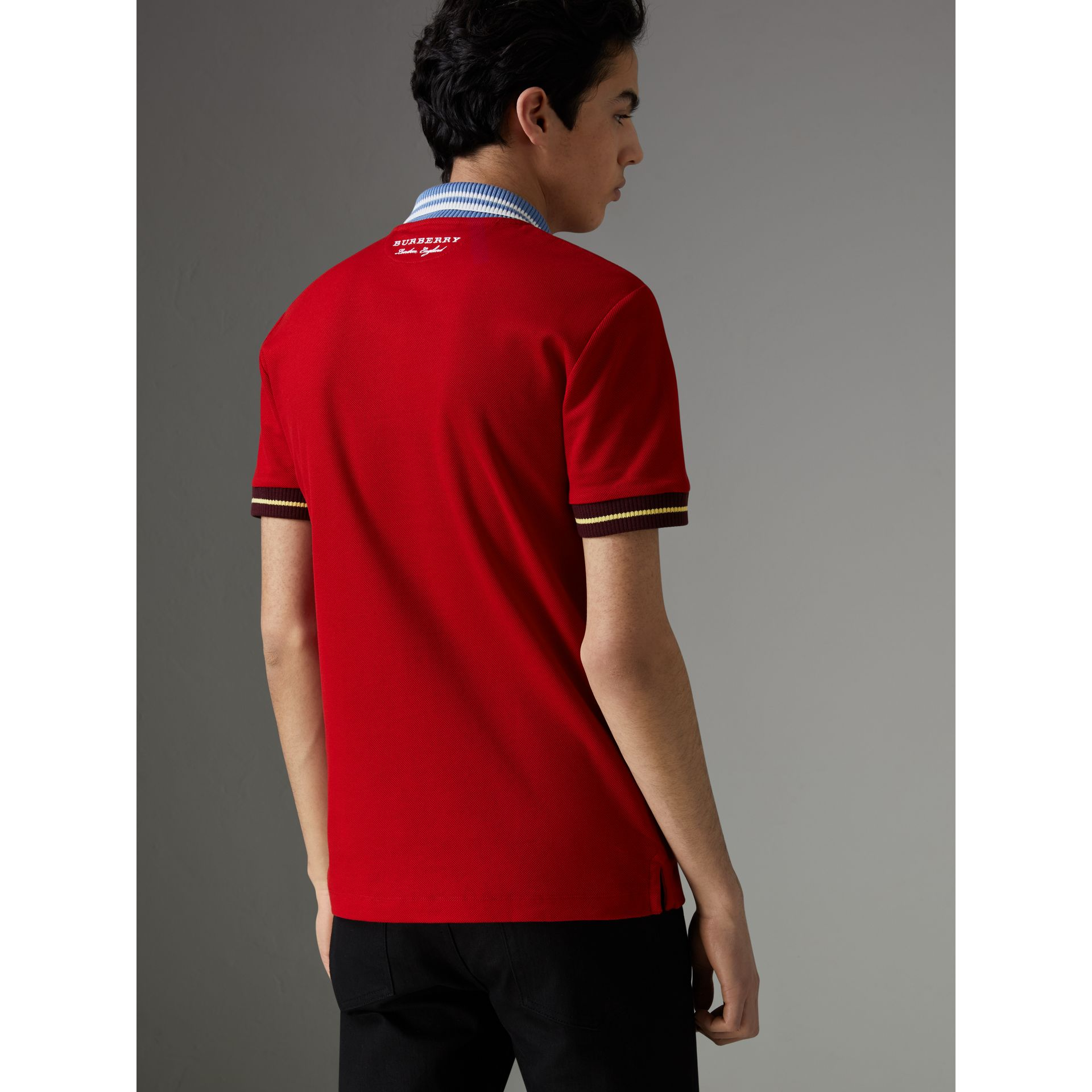 Two-tone Stripe Knitted Detail Cotton Polo Shirt in Cadmium Red - Men | Burberry - gallery image 2