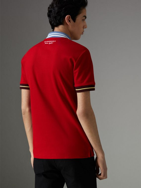 Two-tone Stripe Knitted Detail Cotton Polo Shirt in Cadmium Red - Men | Burberry - cell image 2