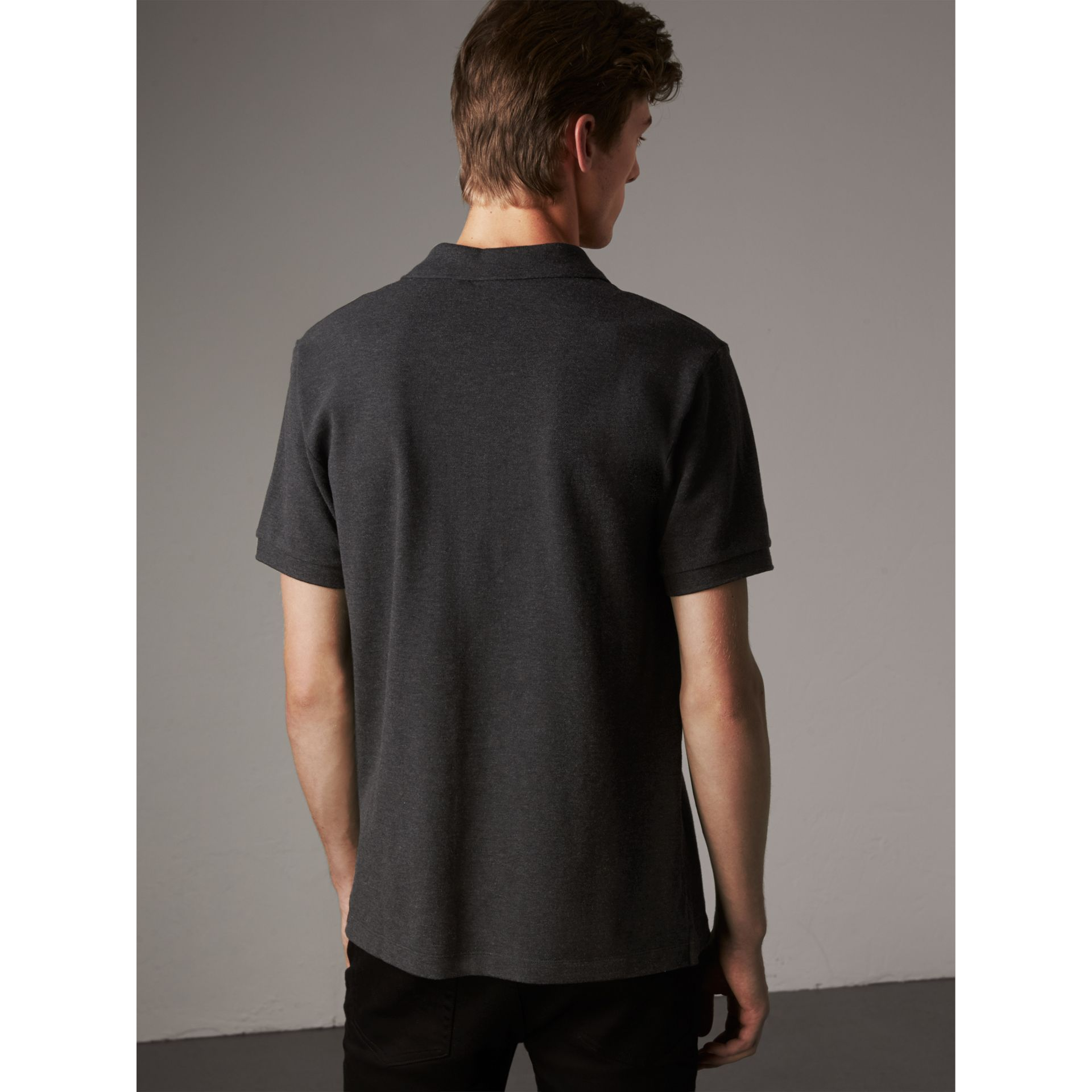 Check Placket Cotton Piqué Polo Shirt in Dark Charcoal Melange - Men | Burberry Australia - gallery image 2