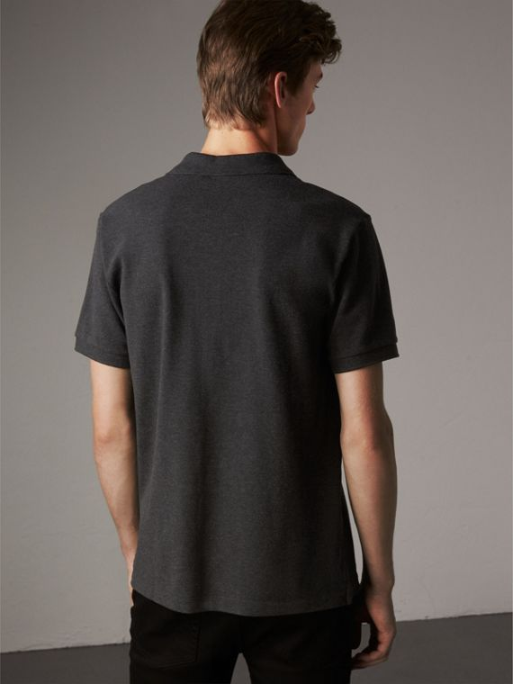 Check Placket Cotton Piqué Polo Shirt in Dark Charcoal Melange - Men | Burberry Australia - cell image 2