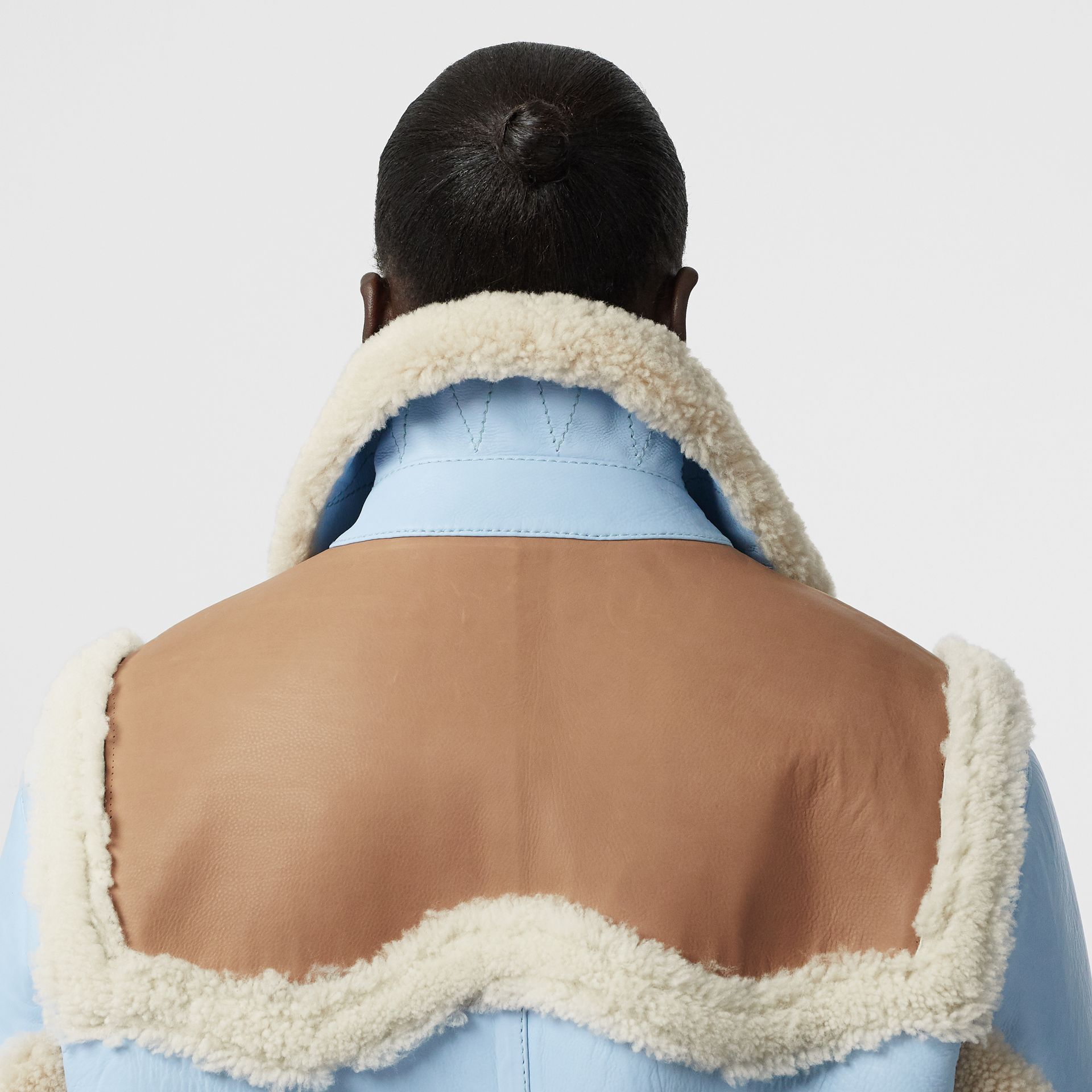 Two-tone Leather and Shearling Coat in Baby Blue - Women | Burberry - gallery image 5