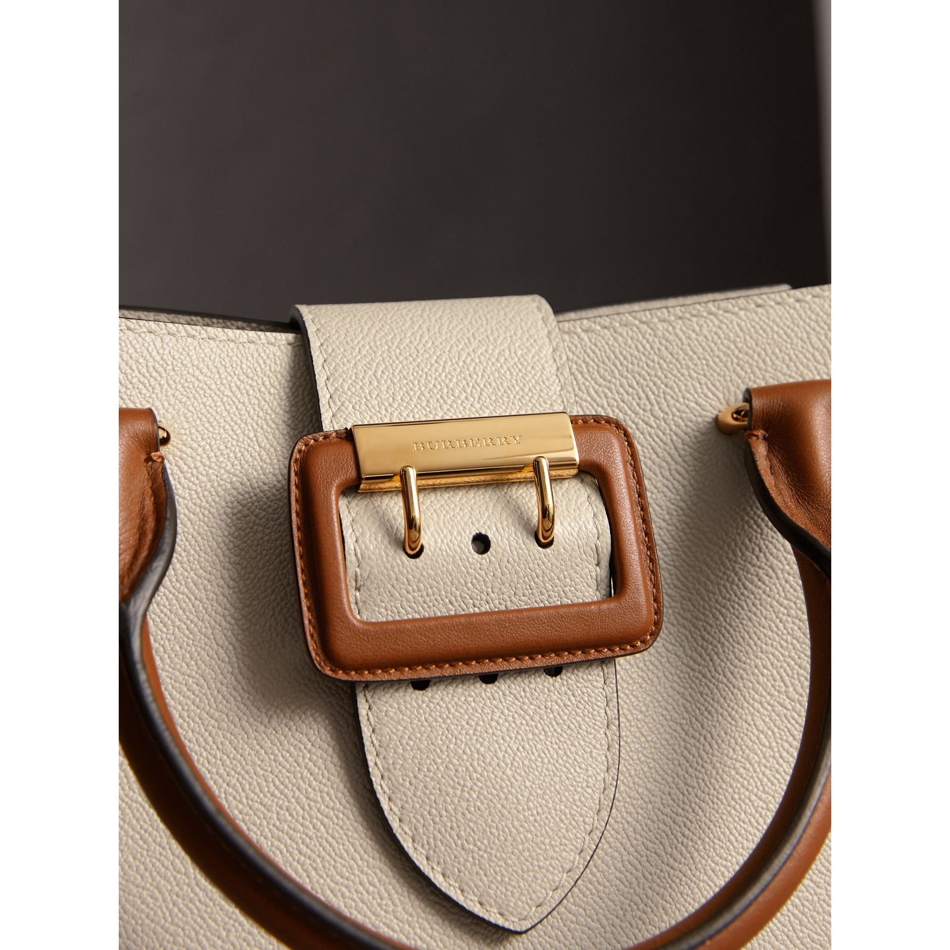 The Small Buckle Tote in Two-tone Leather in Limestone - Women | Burberry - gallery image 2