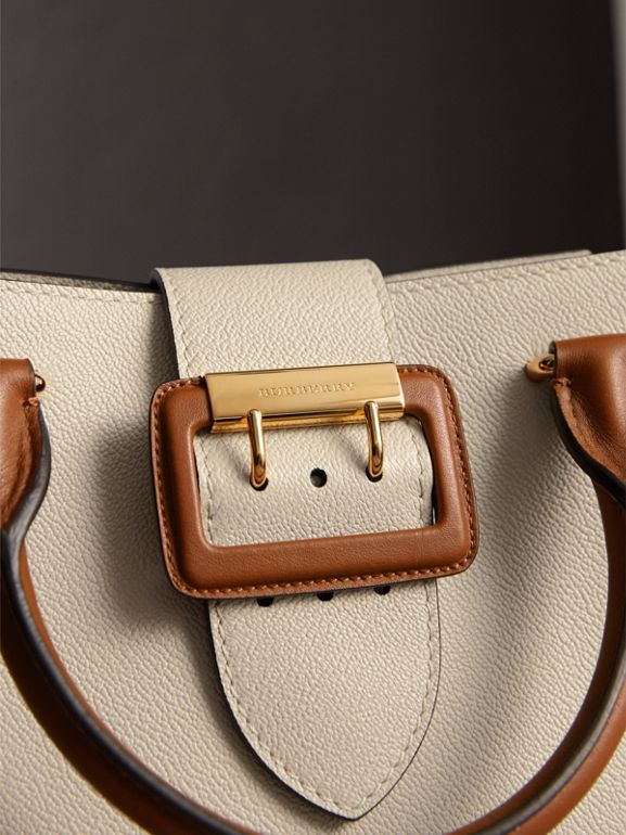 The Small Buckle Tote in Two-tone Leather in Limestone - Women | Burberry - cell image 1
