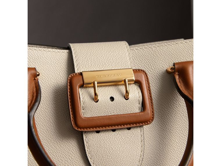The Small Buckle Tote in Two-tone Leather in Limestone - Women | Burberry United Kingdom - cell image 1