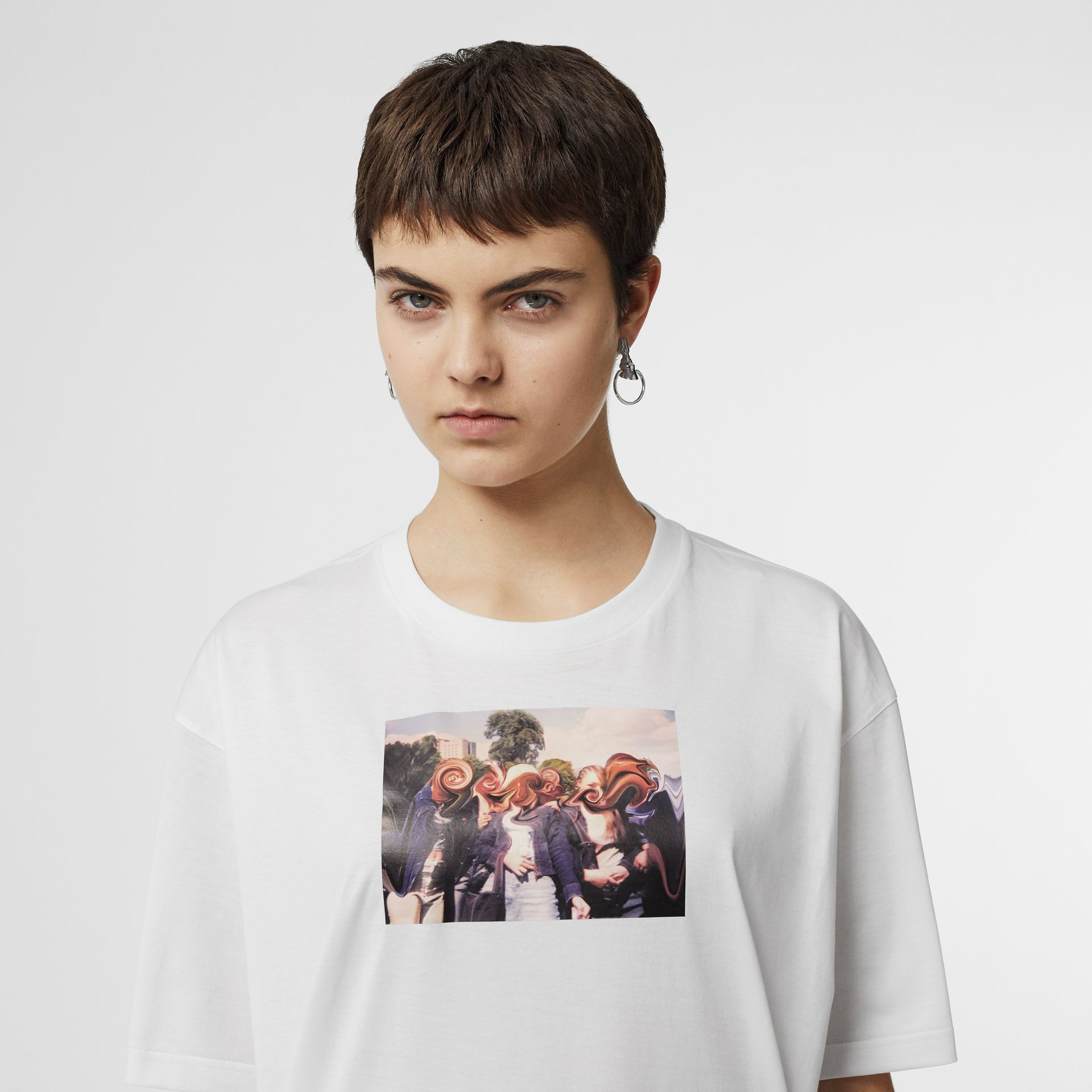Montage Print Cotton Oversized T-shirt in White - Women | Burberry United Kingdom - gallery image 1
