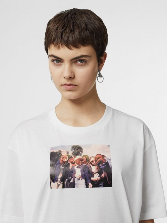 Montage Print Cotton Oversized T-shirt in White - Women | Burberry United States - cell image 1