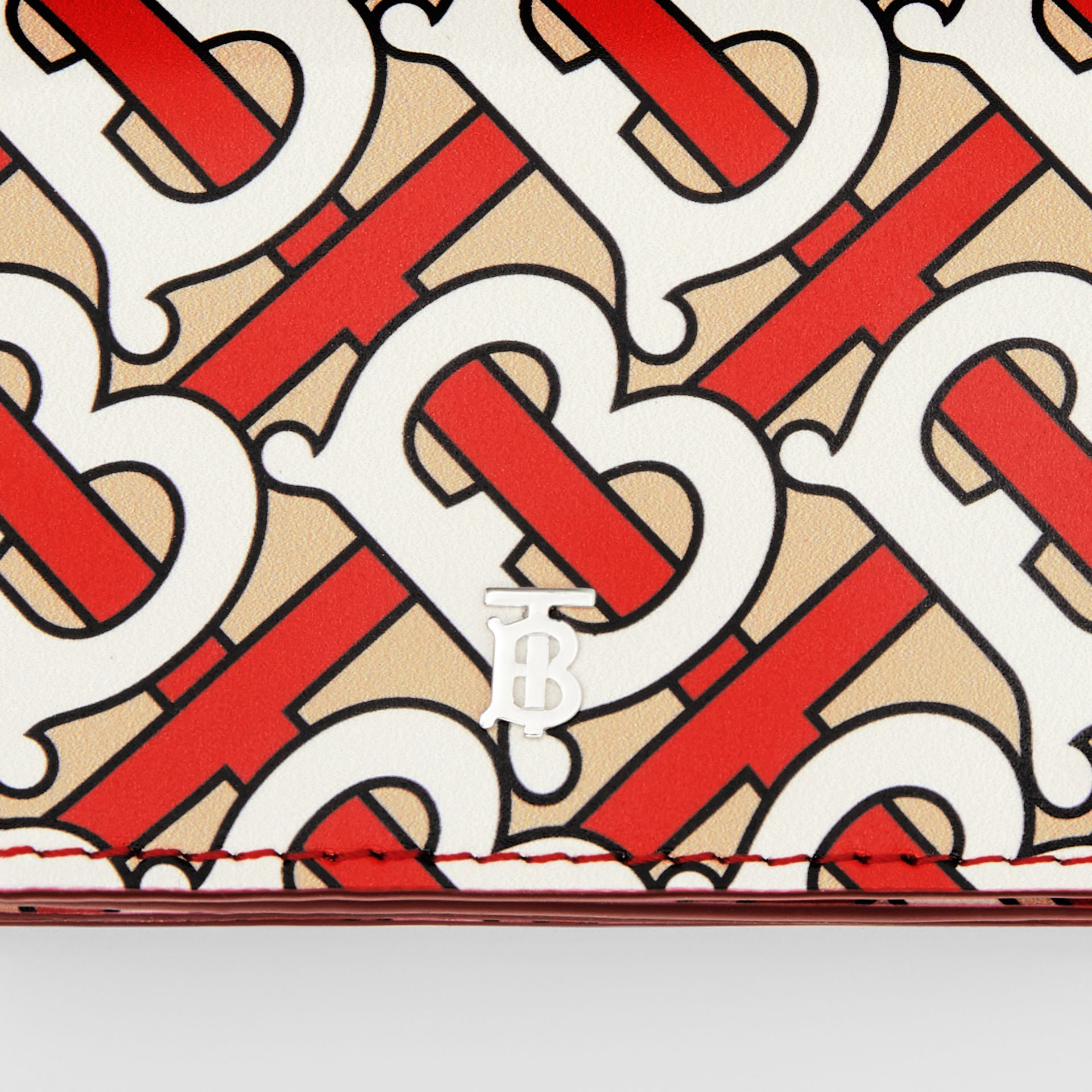 Monogram Print Card Case with Detachable Strap in Vermilion   Burberry - gallery image 9