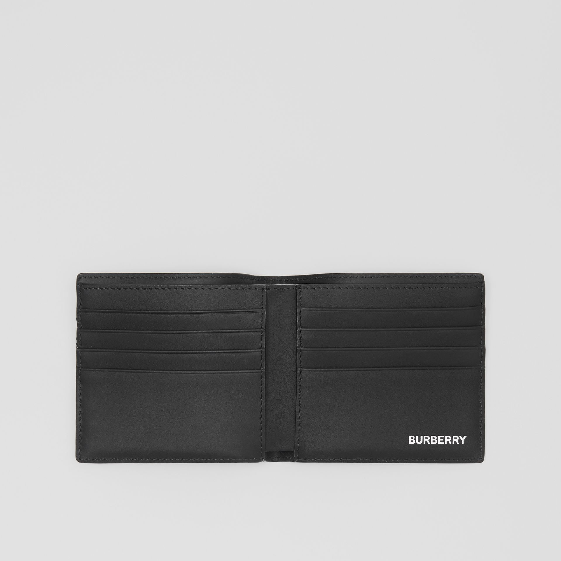 London Check and Leather International Bifold Wallet in Dark Charcoal - Men | Burberry Hong Kong - gallery image 2