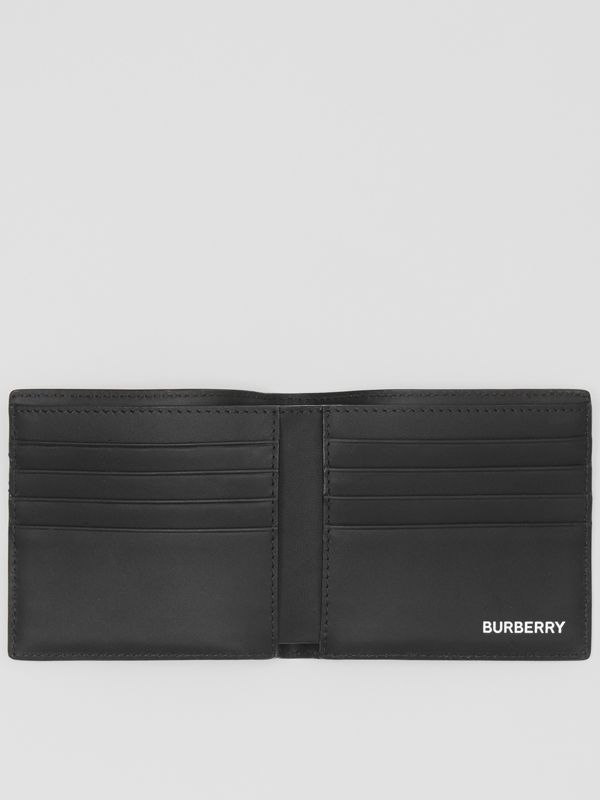 London Check and Leather International Bifold Wallet in Dark Charcoal - Men | Burberry United States - cell image 2