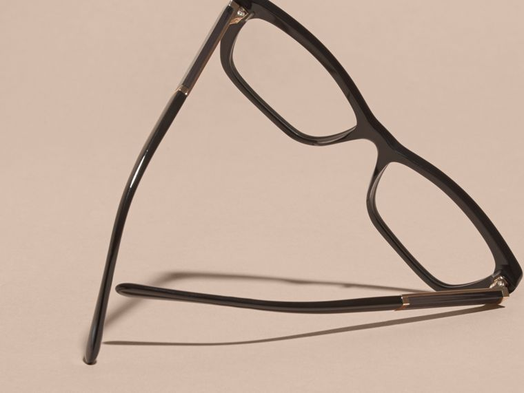 Black Check Detail Rectangular Cat-eye Optical Frames Black - cell image 4