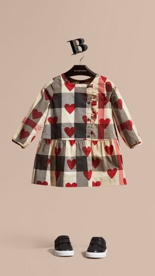 Heart and Check Cotton A-line Dress