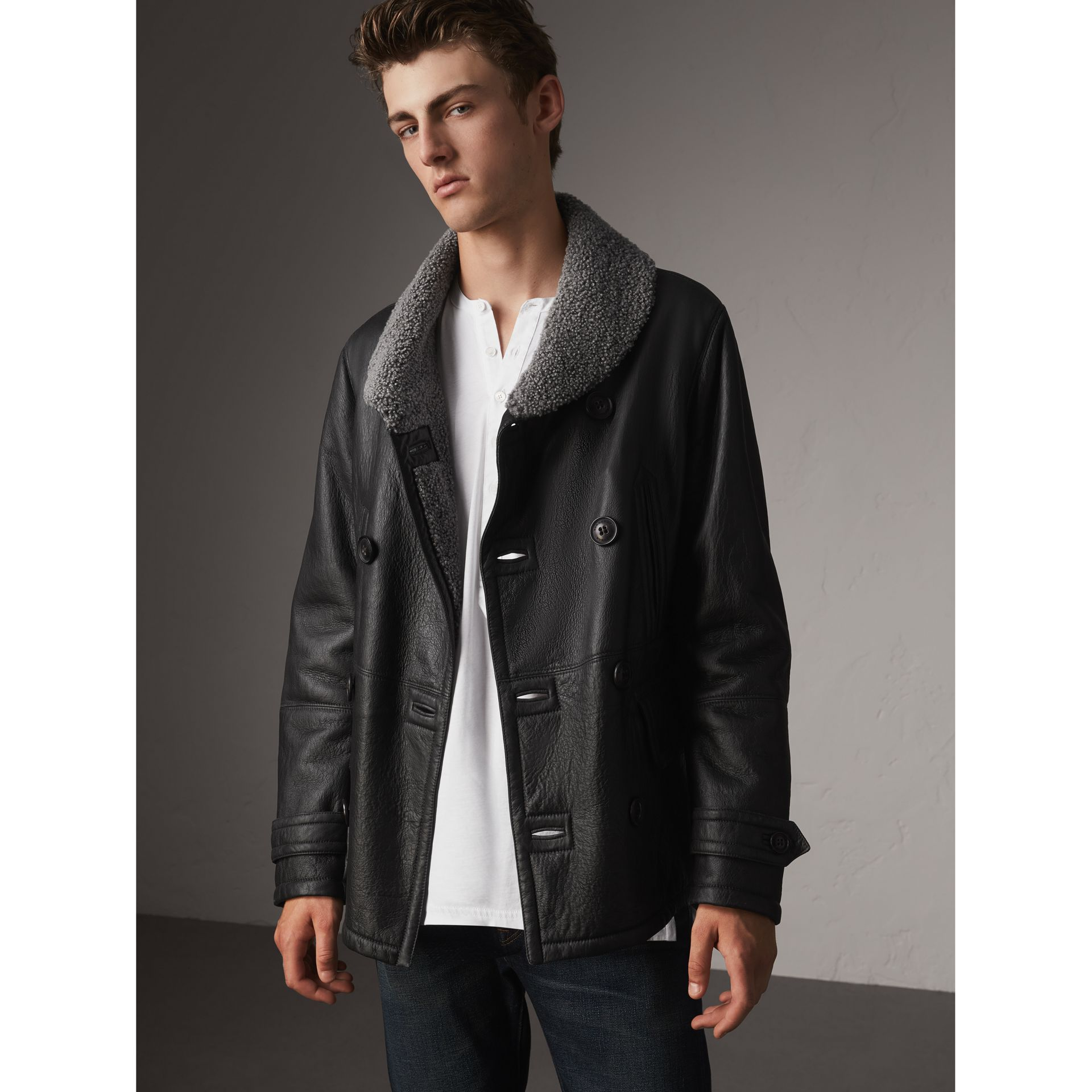Shearling Pea Coat in Black - Men | Burberry - gallery image 0