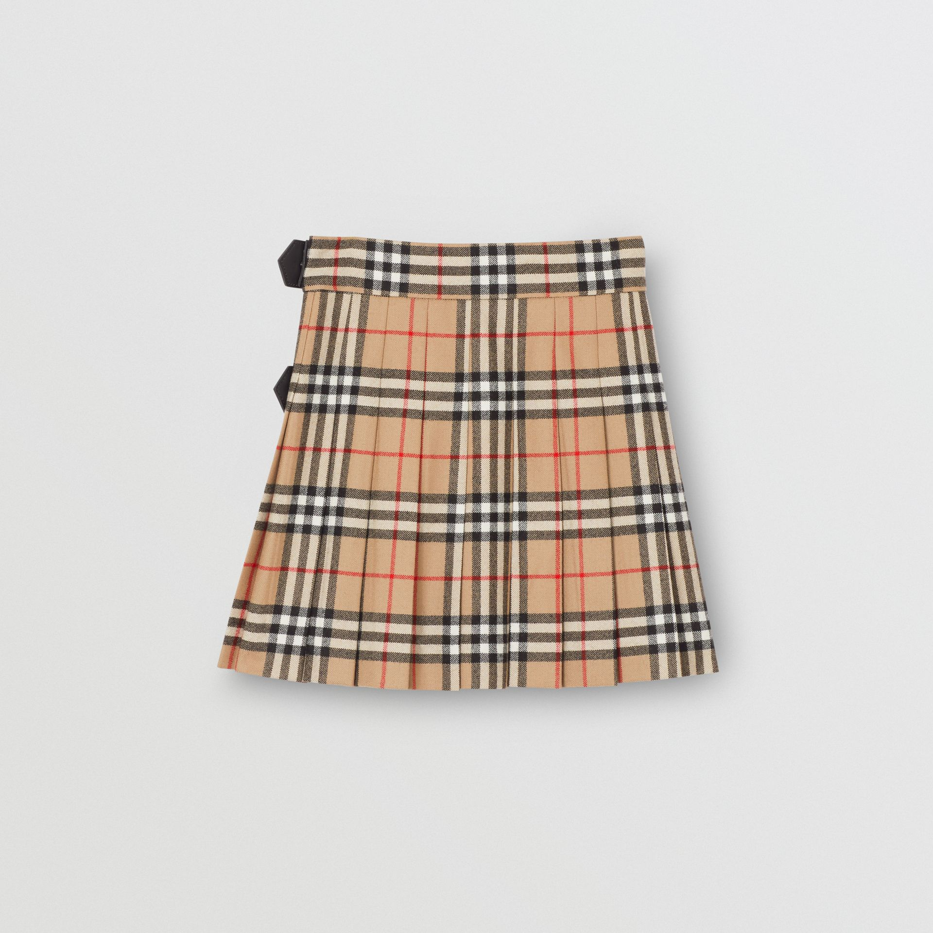 Lambskin Detail Vintage Check Wool Kilt in Archive Beige | Burberry - gallery image 3