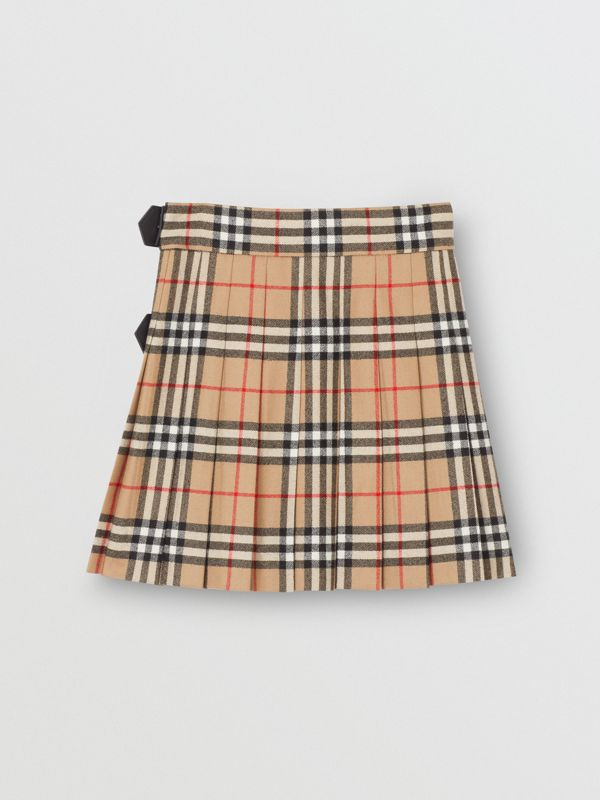 Lambskin Detail Vintage Check Wool Kilt in Archive Beige | Burberry - cell image 3