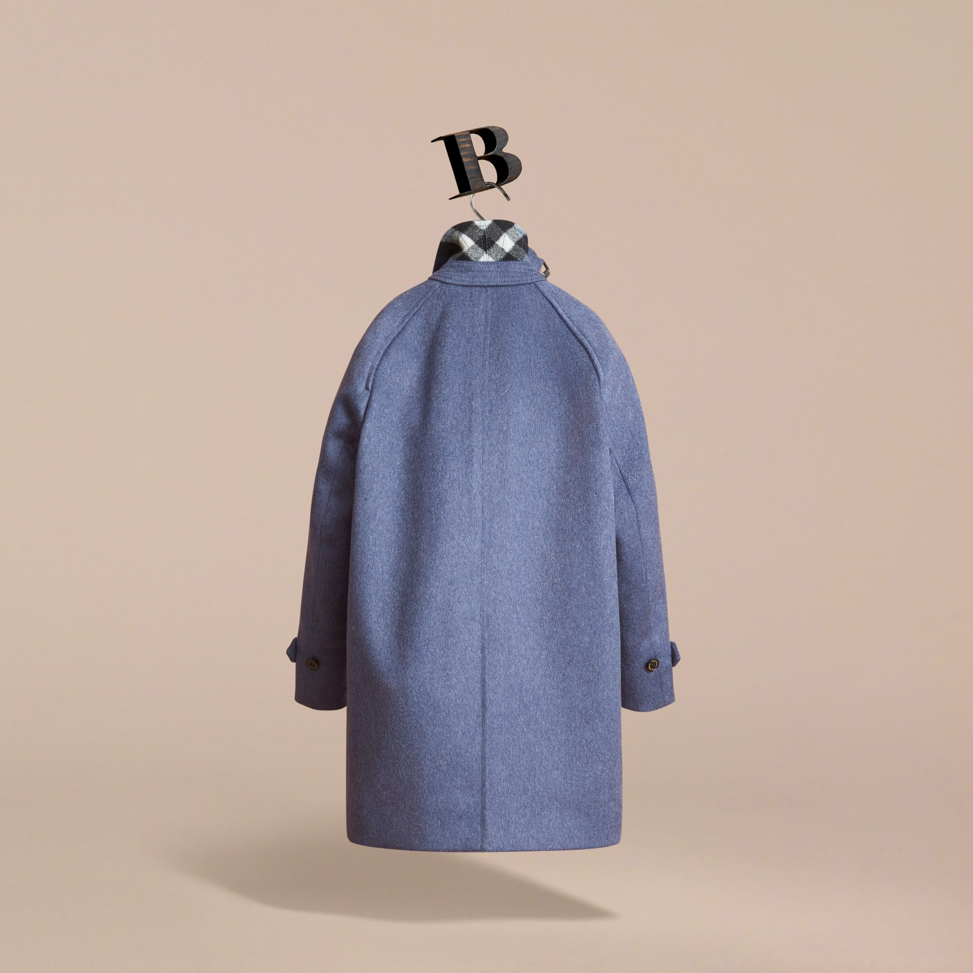 Cashmere Car Coat in Steel Blue Melange - Boy | Burberry - gallery image 4
