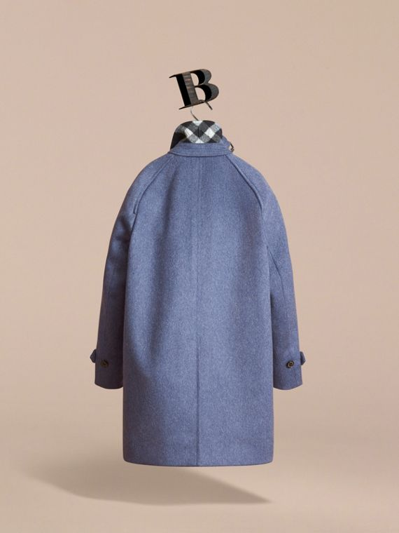Cashmere Car Coat in Steel Blue Melange - Boy | Burberry - cell image 3