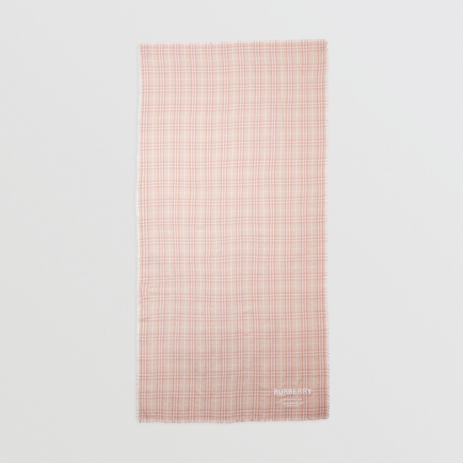 Embroidered Vintage Check Lightweight Cashmere Scarf in Soft Peach | Burberry - gallery image 5