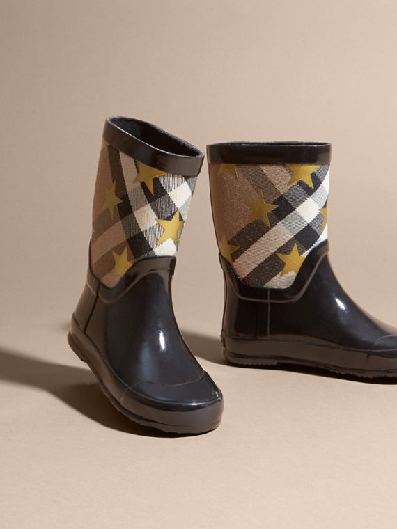 Star Print House Check Rain Boots