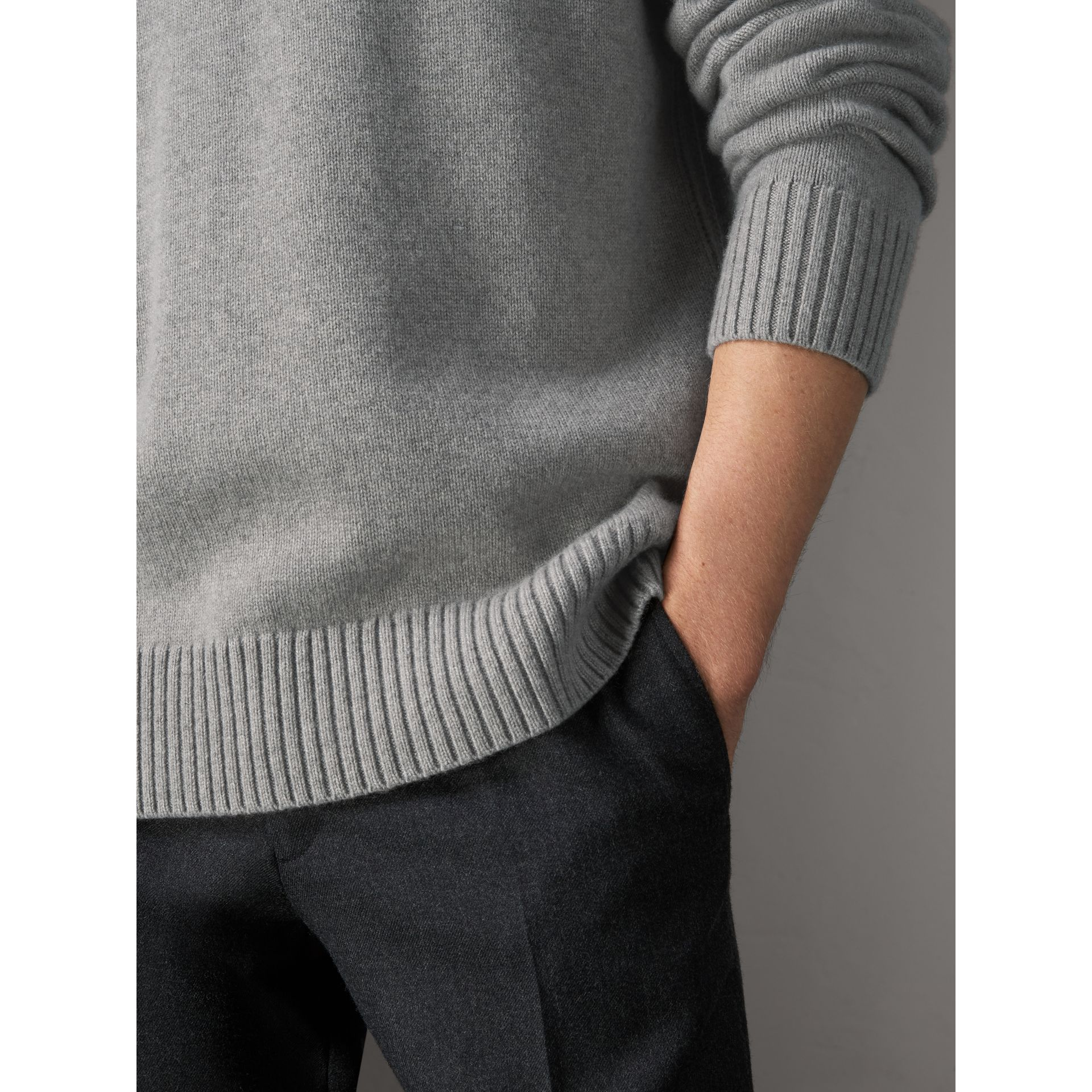 Open-knit Detail Wool Cashmere Sweater in Light Grey Melange - Men | Burberry United States - gallery image 1
