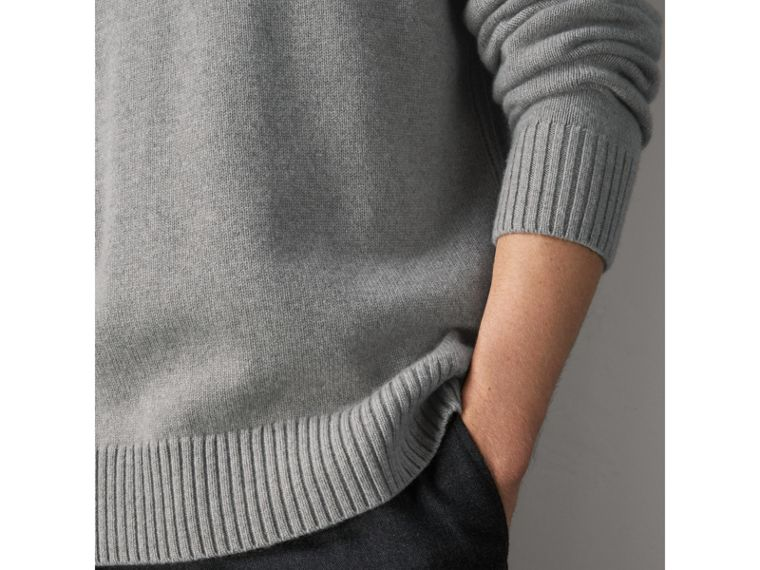 Open-knit Detail Wool Cashmere Sweater in Light Grey Melange - Men | Burberry United States - cell image 1