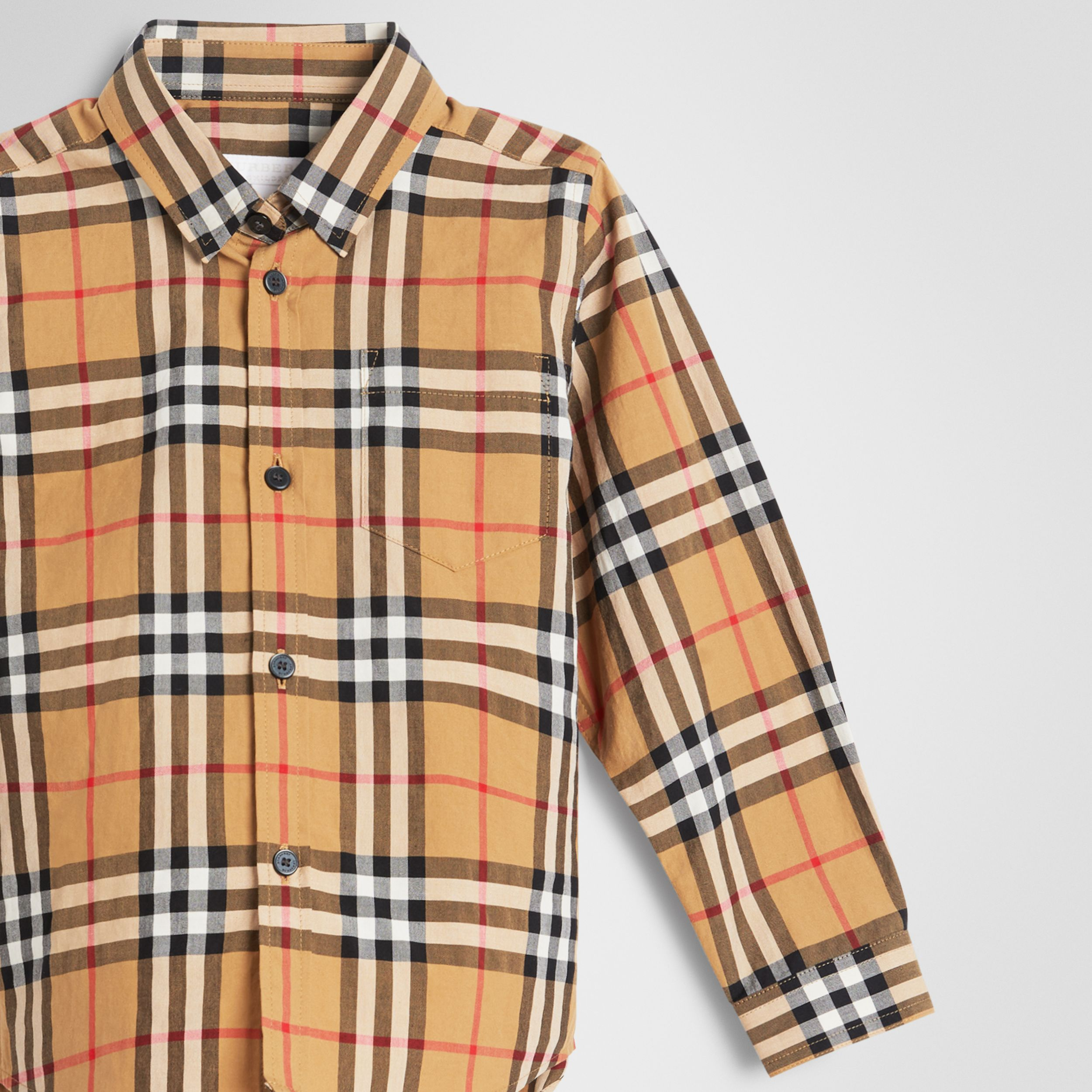 Vintage Check Cotton Shirt in Antique Yellow - Boy | Burberry - 4