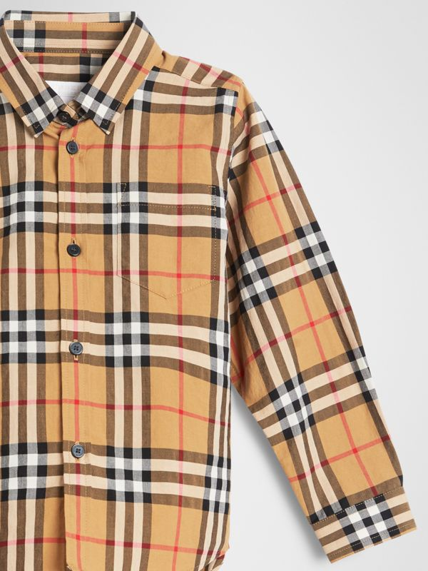 Vintage Check Cotton Shirt in Antique Yellow | Burberry United Kingdom - cell image 3