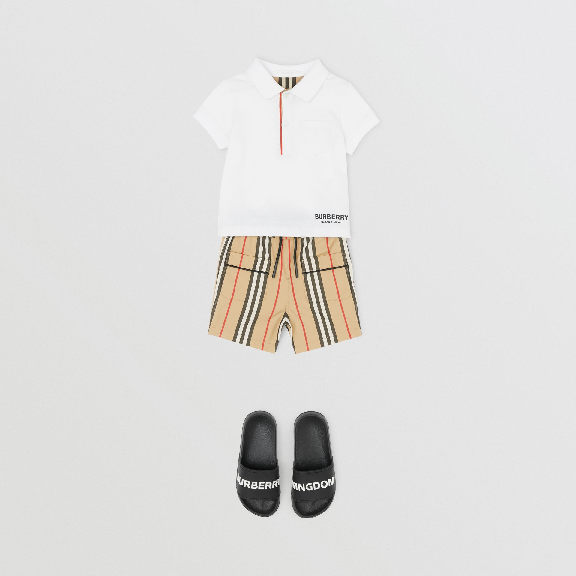 Icon Stripe Cotton Poplin Shorts in Archive Beige | Burberry - gallery image 2