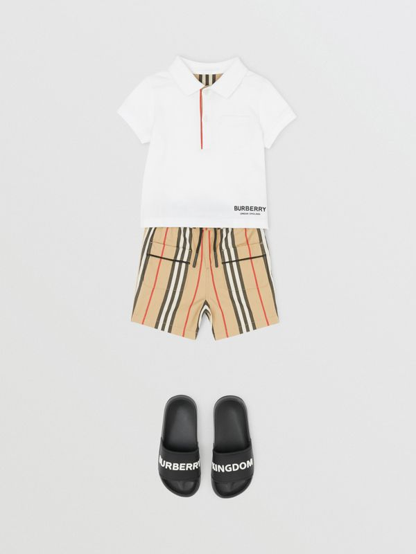 Icon Stripe Cotton Poplin Shorts in Archive Beige - Children | Burberry - cell image 2