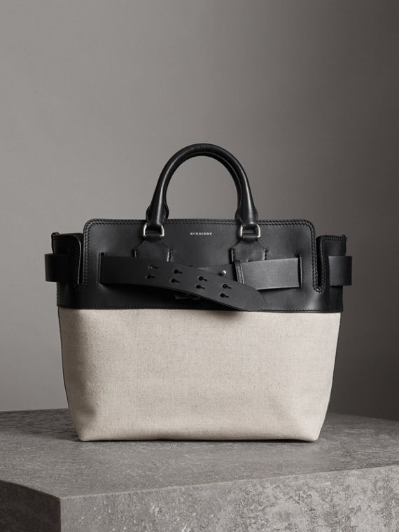 The Medium Canvas and Leather Belt Bag in Black