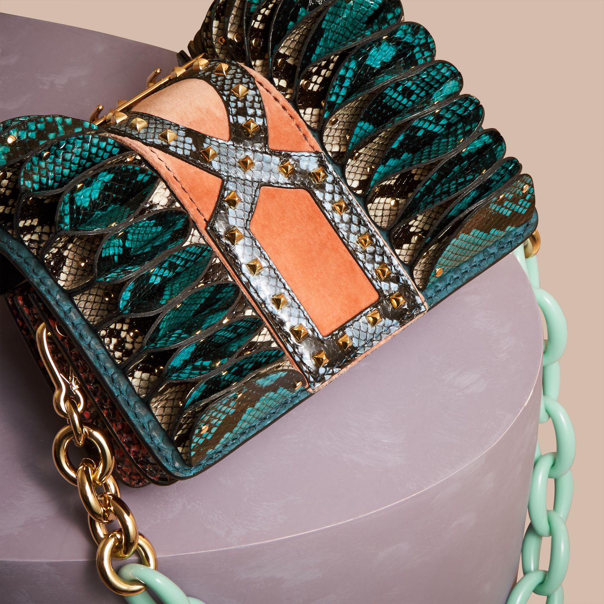 Teal The Ruffle Buckle Bag in Snakeskin and Velvet - gallery image 5
