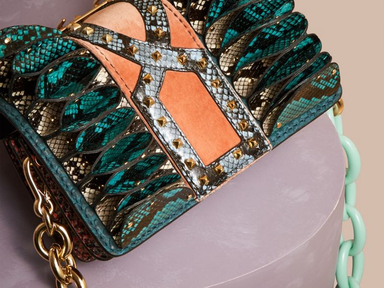 Teal The Ruffle Buckle Bag in Snakeskin and Velvet - cell image 4