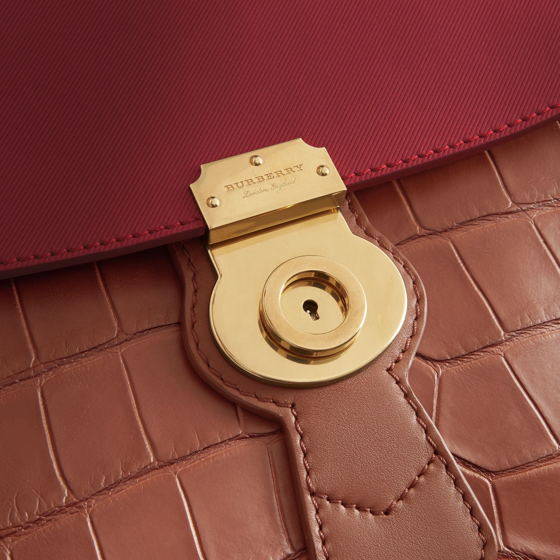 The Medium DK88 Top Handle Bag with Alligator in Tan/antique Red - Women | Burberry Hong Kong - gallery image 1