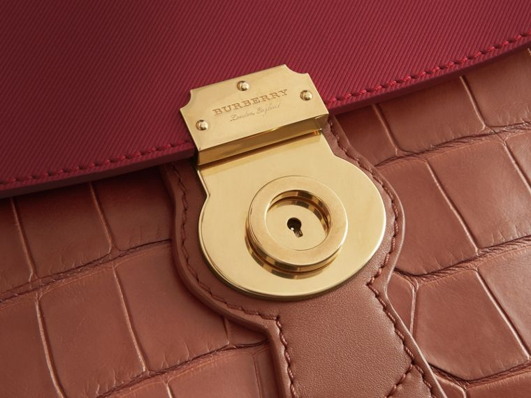 The Medium DK88 Top Handle Bag with Alligator in Tan/antique Red - Women | Burberry - cell image 1