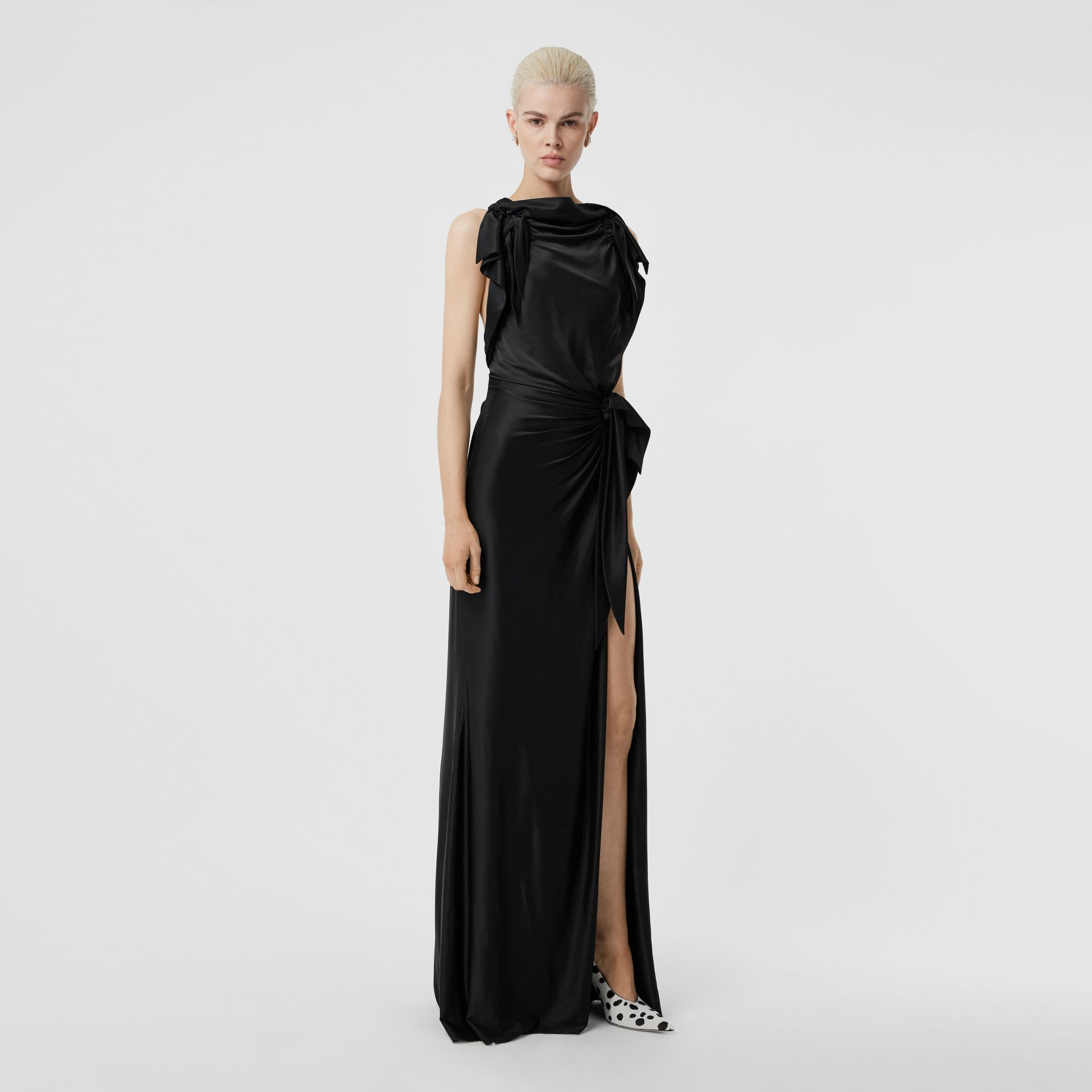 Tie Detail Stretch Jersey Gown in Black - Women | Burberry - gallery image 5