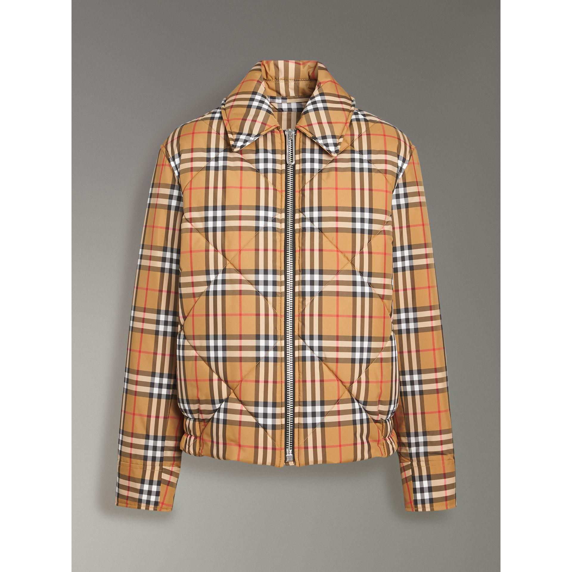 Vintage Check Diamond Quilted Jacket in Antique Yellow - Women | Burberry - gallery image 3