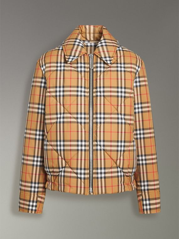 Vintage Check Diamond Quilted Jacket in Antique Yellow - Women | Burberry Singapore - cell image 3