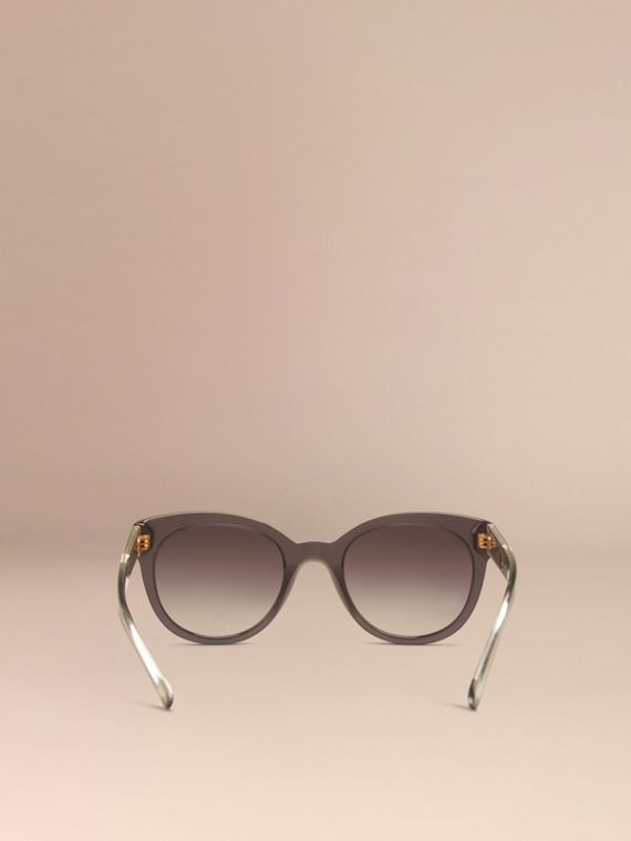 Dark grey Check Detail Oval Sunglasses Dark Grey - cell image 3