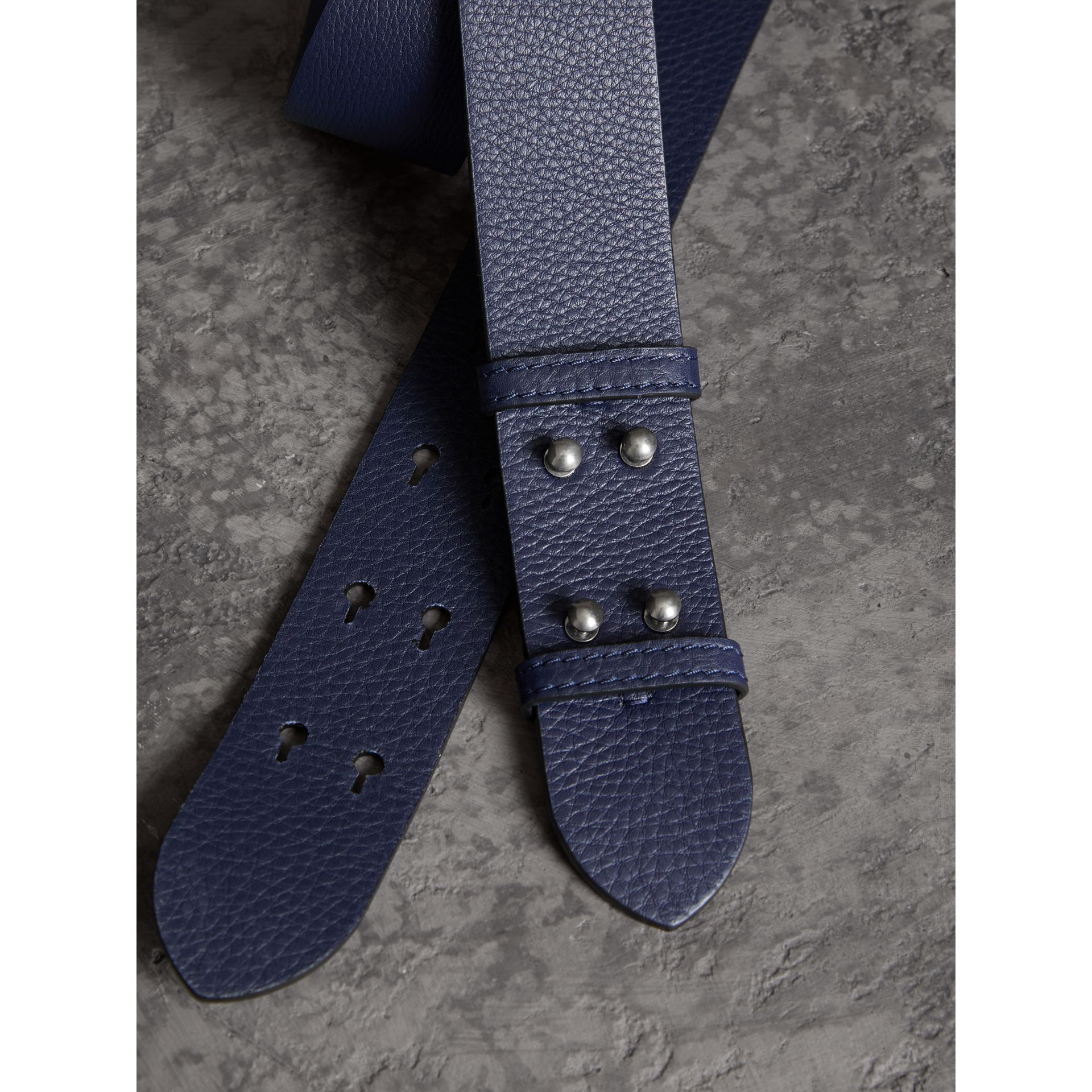 The Medium Belt Bag Grainy Leather Belt in Regency Blue - Women | Burberry - gallery image 1