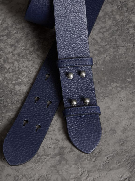 The Medium Belt Bag Grainy Leather Belt in Regency Blue - Women | Burberry United Kingdom - cell image 1